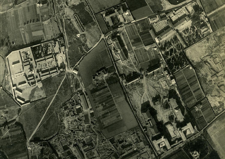 1927 AFB Vista aèria dels barris de La Maternitat i Sant Ramon i Pedralbres. Destaca l_avinguda Diagonal i la Casa Provincial de Maternitat i Expòsits de Barcelona